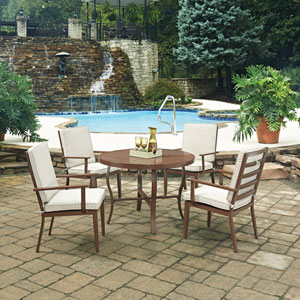 Key West 5 Piece Round Outdoor Dining Table and 4 Chairs