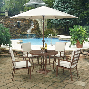 Key West 7 Piece Round Outdoor Dining Table and 4 Chairs, with Umbrella and Base