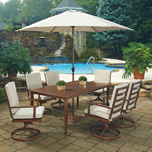 Key West 9 Piece Rectangular Outdoor Dining Table; 6 Swivel Rocking Chairs with Umbrella and Base
