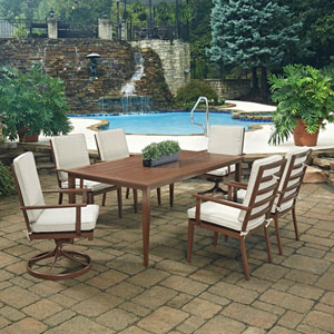 Key West 7 Piece Rectangular Outdoor Dining Table with 4 Arm Chairs and 2 Swivel Rocking Chairs