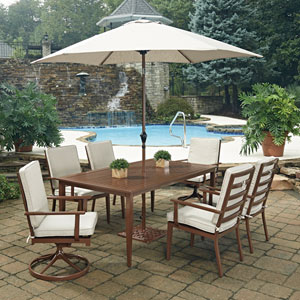 Key West 9 Piece Rectangular Outdoor Dining Table with 4 Arm Chairs and 2 Swivel Rocking Chairs