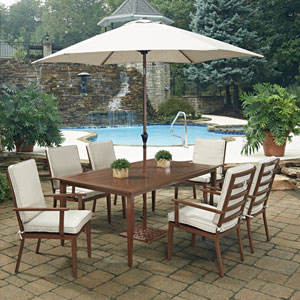 Key West 9 Piece Rectangular Outdoor Dining Table- 6 Chairs with Umbrella and Base