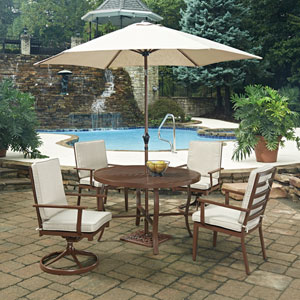 Key West 7 Piece Round Outdoor Dining Table and 2 Swivel Rocking Chairs, 2 Arm Chairs, with Umbrella and Base