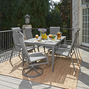 Daytona 7 Piece Rectangular Outdoor Dining Table with 4 Arm Chairs and 2 Swivel Rocking Chairs