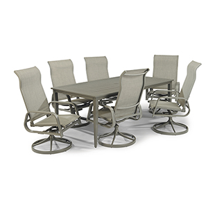 Daytona 7 Piece Rectangular Outdoor Dining Table and 6 Swivel Rocking Chairs