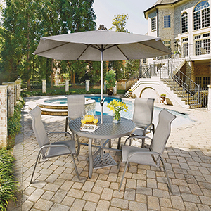 Daytona 7 Piece Round Outdoor Dining Table and 4 Chairs with Umbrella and Base