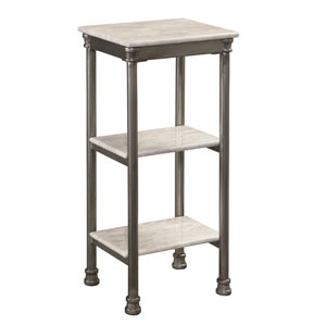 The Orleans Gray Powder-Coated Steel and Faux Marble Three Tier Tower