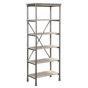 The Orleans Gray Powder-Coated Steel and Faux Marble Six Tier Shelf