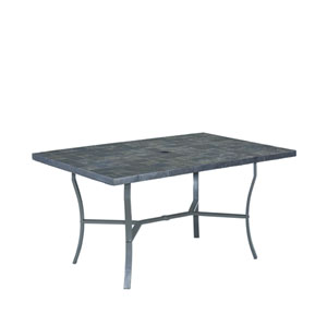 Stone Black 60 x 40 Slate Tile Top Outdoor Dining Table