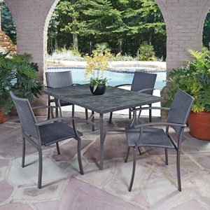 Stone Black 60 x 40 5-Piece Outdoor Dining Set