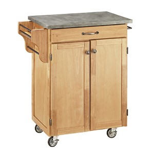 Natural Cuisine Cart with Gray Concrete Top