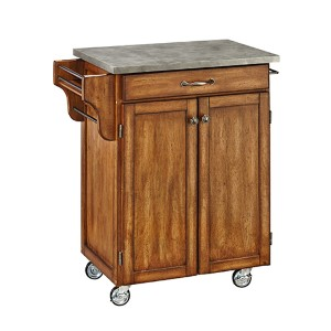 Oak Cuisine Cart with Gray Concrete Top