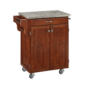 Cherry Cuisine Cart with Gray Concrete Top