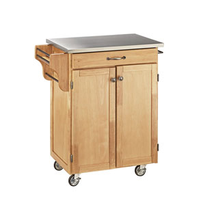 Cuisine Cart Natural Finish Stainless Top