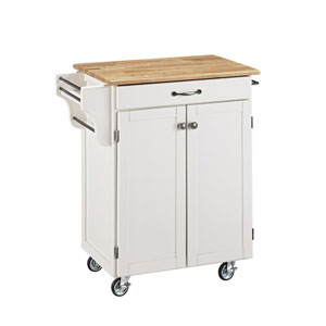 Cuisine Cart White Finish with Natural Wood Top