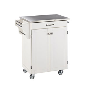 Cuisine Cart White Finish Stainless Top