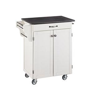 Cuisine Cart White Finish Black Granite Top