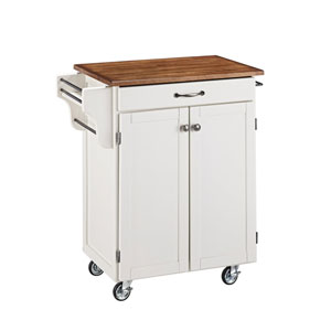 Cuisine Cart White Finish with Oak Top