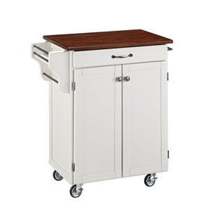 Cuisine Cart White Finish with Cherry Top