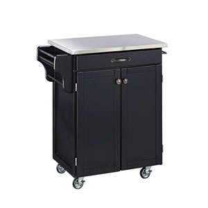 Cuisine Cart Black Finish Stainless Top