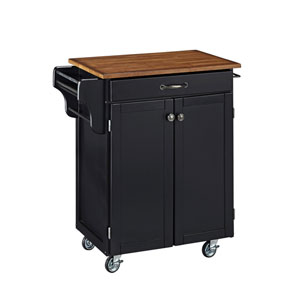 Cuisine Cart Black Finish with Oak Top