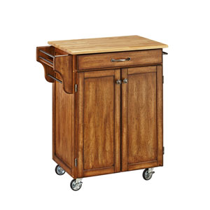 Cuisine Cart Warm Oak Finish with Wood Top
