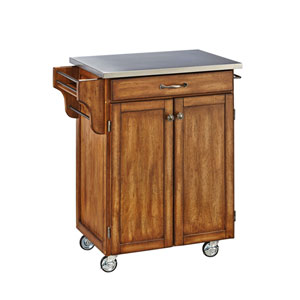 Cuisine Cart Warm Oak Finish Stainless Top