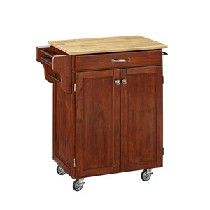 Cuisine Cart Cherry Finish with Wood Top