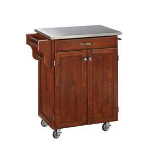 Cuisine Cart Cherry Finish Stainless Top