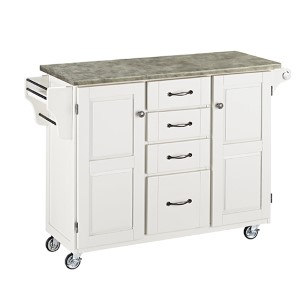 White Create-a-Cart with Gray Concrete Top and Two Doors