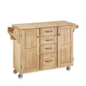 Create-a-Cart Natural Finish with Natural Wood Top