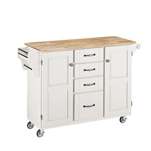 Create-a-Cart White Finish with Natural Wood Top