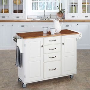 Create-a-Cart White Finish with Oak Top
