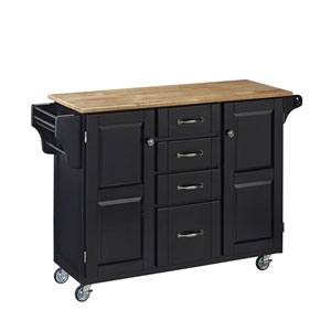 Create-a-Cart Black Finish with Wood Top