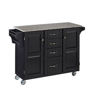 Create-a-Cart Black Finish SP Granite Top