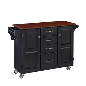 Create-a-Cart Black Finish with Cherry Top
