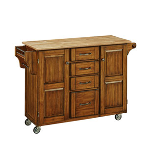 Create-a-Cart Warm Oak Finish with Wood Top