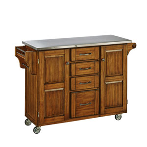 Create-a-Cart Warm Oak Finish Stainless Top