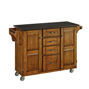 Create-a-Cart Warm Oak Finish Black Granite Top