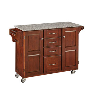 Create-a-Cart Cherry Finish SP Granite Top