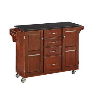 Create-a-Cart Cherry Finish Black Granite Top