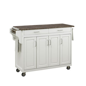 Create-a-Cart in White Finish with Brown Top
