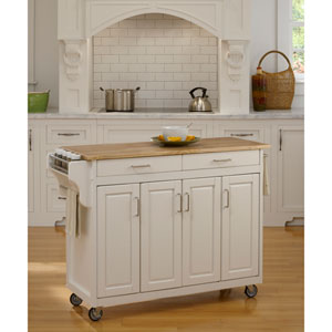 Create-a-Cart White Finish with Wood Top