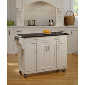 Create-a-Cart White Finish Black Granite Top