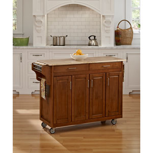 Create-a-Cart Cottage Oak Finish with Wood Top