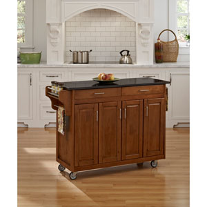 Create-a-Cart Cottage Oak Finish Black Granite Top