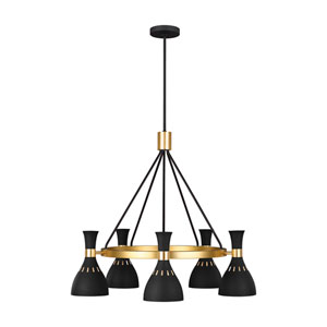 Joan Midnight Black Five-Light Chandelier