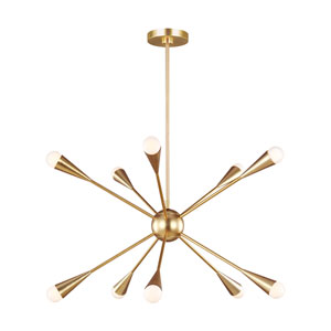 Jax Burnished Brass 10-Light Chandelier
