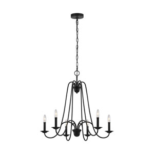 Boughton Antique Forged Iron Six-Light Chandelier