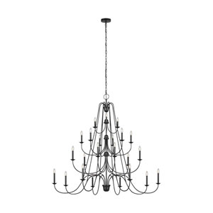 Boughton Antique Forged Iron 24-Light Chandelier